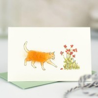 Mini Cat ginger and flowers card