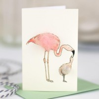 Mini Flamingo and chick card