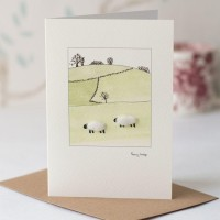 Sheep in fields card