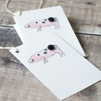 Gift Tags, with string - Gloucester Old Spot pig