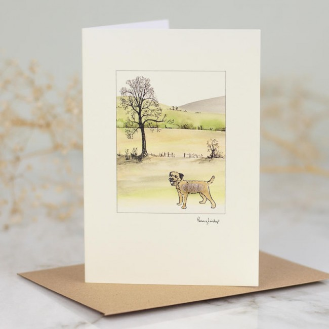 Border terrier by tree card