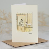 Jack Russell and donkey card