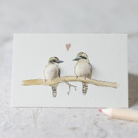 Mini Bird Kookaburras in love card