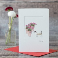 Jack Russell and flowers card