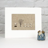D10A41 - Beech tree with 8 sheep
