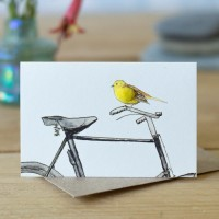 Mini Bird Yellowhammer and bicycle card