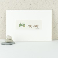John Deere tractor and pigs print