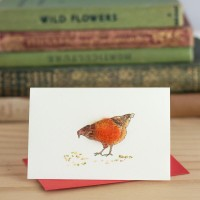 Chickens Gift Card - Hen pecking at grain