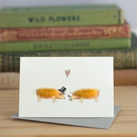 Mini Pig Tamworths in love card