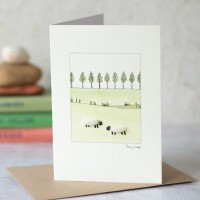 Sheep with a line of trees card