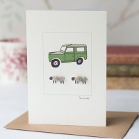 Sheep and Land Rover card