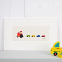 E22A20R - Red Nursery Tractor and Bright Sheep print