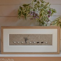 F10A40 - Long Row of Sheep and apple tree print