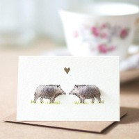 Mini Boars in love card