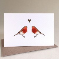 Mini Bird Robins in love card