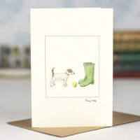 Jack Russell and wellies card