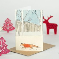 Mini Fox and winter trees card
