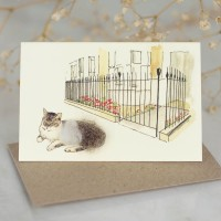 Cat Gift Card - Cat and town garden railings gift card