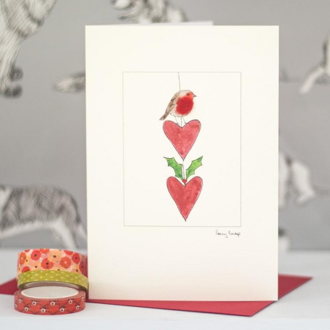 Robin on string of hearts Christma card