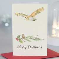 Mini Owl and festive branch card