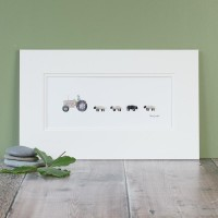 E10A24 - Grey Fergie Tractor And 4 Sheep print