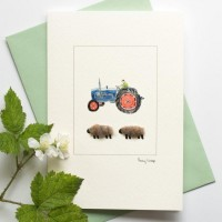 Sheep and Ford tractor card