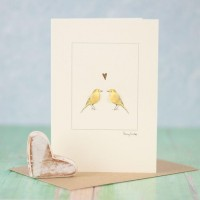 Yellow wagtails in love card