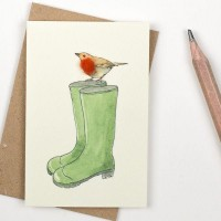 Mini Bird Robin and wellies card
