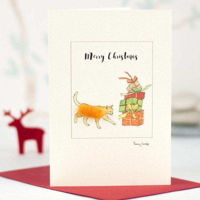 Ginger cat and presents Christma card