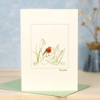 Snowdrop and robin card