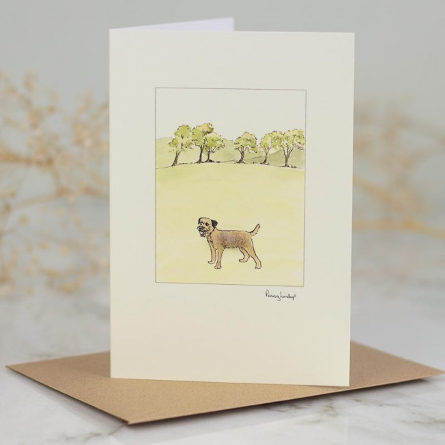 Border terrier by 6 trees card