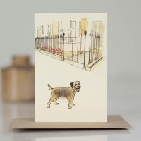 Mini Dog10K - Border Terrier by city garden railings
