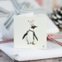 Christmas Gift Tag - Penguin in a crown