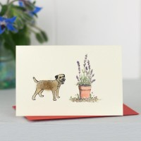 Mini Dog10B - Border Terrier With Potted Plant