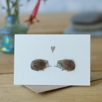 Mini Hedgehogs in love card