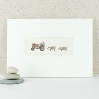 Red vintage tractor and pigs print