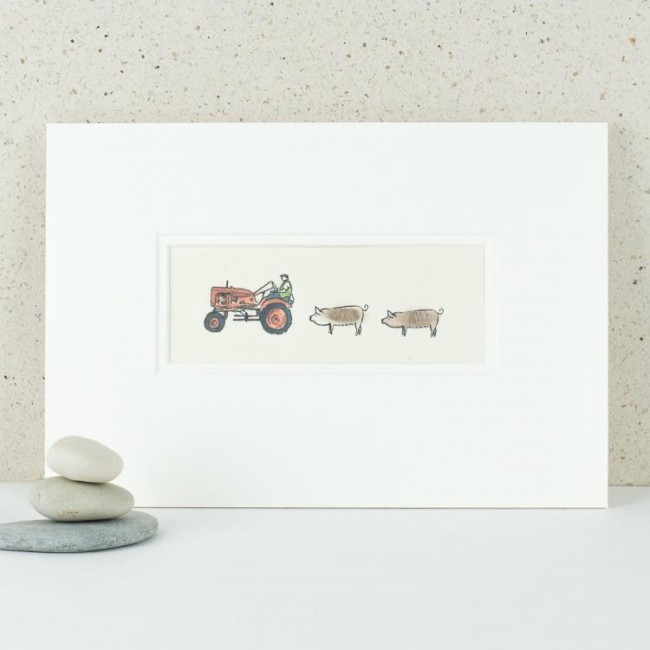A11A23 - Red Vintage Tractor and Pigs