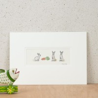 3 Rabbits and carrots print