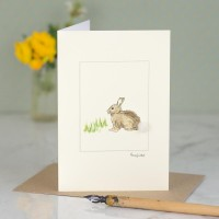 Rabbit in the grass card