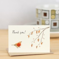 Mini Bird Robin Thank You card