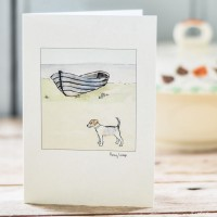 Beach7 - Jack Russell and Fishing Boat Greeting Card