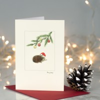 Hedgehog with hat under pine sprig Christmas card