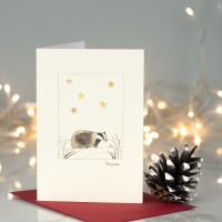Badger under stars Christmas card