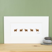 E12E10-2  6 Highland Cows in profile print