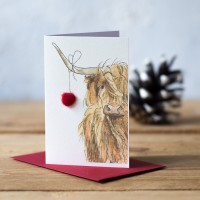 Mini Highland Cow with Bauble Gift Card