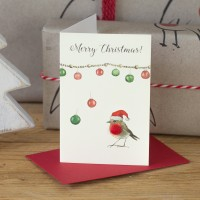 Mini Robin and baubles card