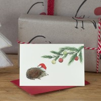 Mini Hedgehog and baubles card