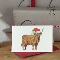 Mini Cow Highland in hat card