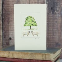 Sheep and chestnut tree card